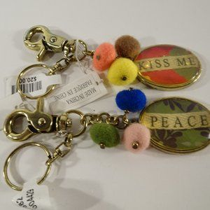 Anthropologie Kiss Me Peace Pom Pom Key Ring Set 2